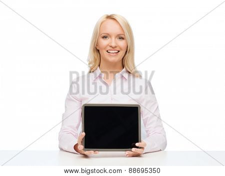 education, business and technology concept - smiling businesswoman or student showing tablet pc computer blank screen over white background