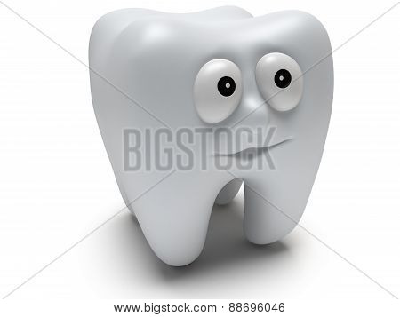 Cute healthy tooth with funny face