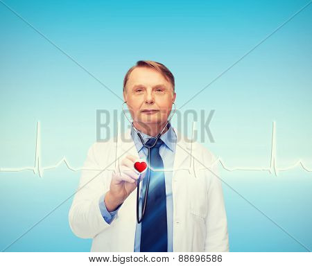 healthcare and medicine concept - smiling standing doctor or professor with stethoscope