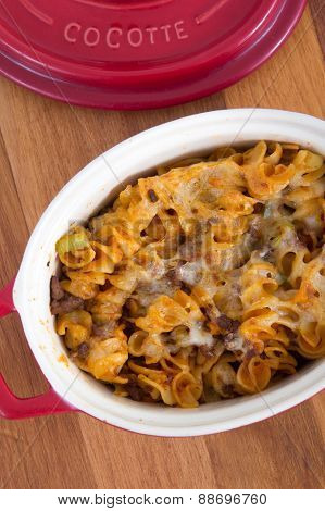 beef and cheese rotini spiral pasta dish on table