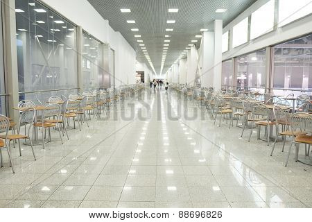 MOSCOW, RUSSIA  -  MARCH 26, 2015: Interior of the cafe in Crocus City Mall. Crocus City complex (Mall, Expo, Hotels, Concert hall, Restaurants)