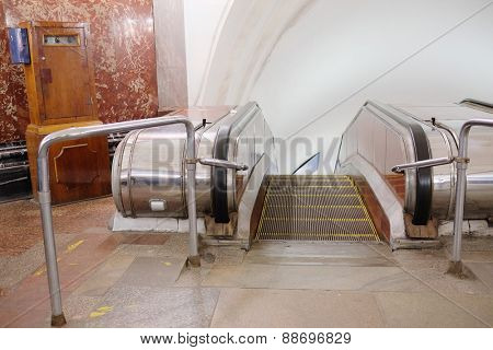 MOSCOW, RUSSIA  -  APRIL 12, 2015: Sokolnicheskaya line - the first line of the Moscow metro. Station of the Moscow metro station Krasnye Vorota escalator