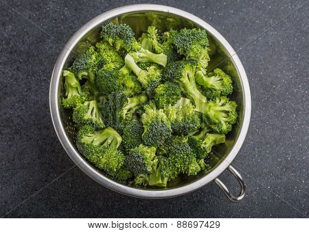 Pieces Of Broccoli In A Sieve