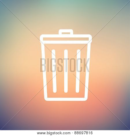 Trash can icon thin line for web and mobile, modern minimalistic flat design. Vector white icon on gradient mesh background.