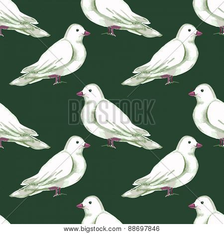 Watercolor Seamless pattern with white doves. Vector illustration.