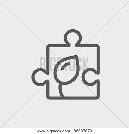 Jigsaw puzzle with leaf icon thin line for web and mobile, modern minimalistic flat design. Vector dark grey icon on light grey background.