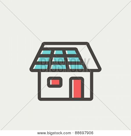 House icon thin line for web and mobile, modern minimalistic flat design. Vector icon with dark grey outline and offset colour on light grey background.