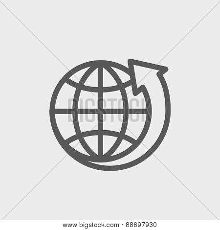 Earth design icon thin line for web and mobile, modern minimalistic flat design. Vector dark grey icon on light grey background.