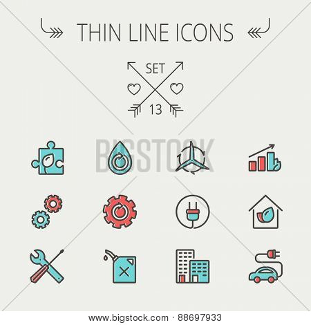 Ecology thin line icon set for web and mobile. Set includes-gear wheel, gas pump, leafs, tools, plug, building, electric car  icons. Modern minimalistic flat design. Vector icon with dark grey outline