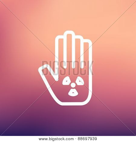 Hand and some object icon thin line for web and mobile, modern minimalistic flat design. Vector white icon on gradient mesh background.