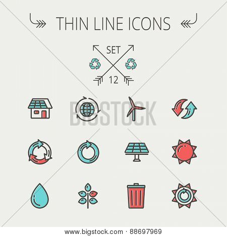Ecology thin line icon set for web and mobile. Set includes- recycle, sun, water drop, garbage bin, windmill, leaves, global icons. Modern minimalistic flat design. Vector icon with dark grey outline