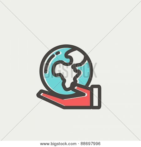 Hand holding earth icon thin line for web and mobile, modern minimalistic flat design. Vector icon with dark grey outline and offset colour on light grey background.