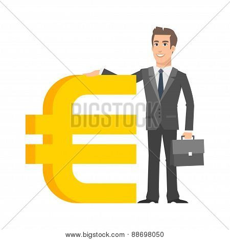 Businessman standing near with euro sign