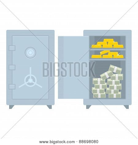 Safe closed open with money and gold