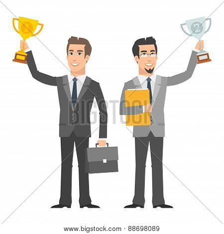 Two businessman holding cup and smiling