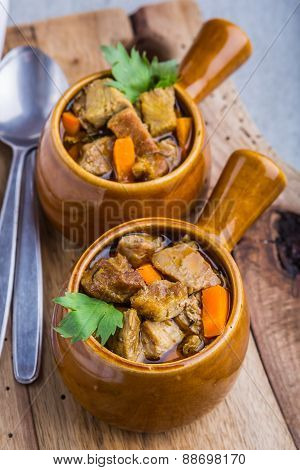 Portion Of Traditional Beef Stew With Carrots