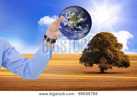 Businessman holding hand out in presentation against sunny brown landscape