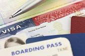 stock photo of boarding pass  - USA Visa - JPG
