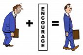 image of encouraging  - Cartoon of businessperson who is positively impacted by encouragement - JPG
