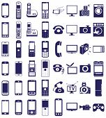 image of household  - blue icons in white background on electronics and household appliances telephones - JPG