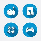 stock photo of video game controller  - Bowling and Casino icons - JPG