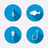 stock photo of fishing bobber  - Fishing icons - JPG