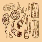 stock photo of didgeridoo  - musical instruments brown outline on beige background - JPG