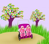 stock photo of identical twin girls  - Twins sisters sleeping in stroller in the garden - JPG