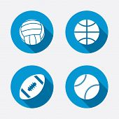 stock photo of volleyball  - Sport balls icons - JPG