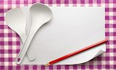 foto of ladle  - Blank white sheet of paper with ladles and pencil - JPG