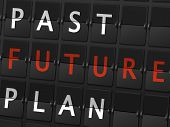 stock photo of past future  - past future plan words on airport board background - JPG