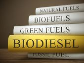 picture of ethanol  - book title of biodiesel isolated on a wooden table over dark background - JPG
