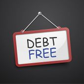 stock photo of debt free  - debt free hanging sign isolated on black wall - JPG