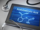 Acetylsalicylic Acid Words Display On Tablet poster