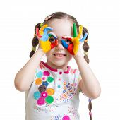 picture of child development  - Four year old child girl with hands painted in color paints isolated - JPG
