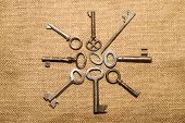 stock photo of hasp  - A lot vintage keys to the safe on a very old cloth - JPG