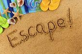 Постер, плакат: Escape Beach Writing