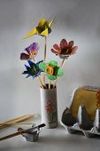 foto of reuse recycle  - Cut and painted egg carton flower bouquet result of a waste reuse in creative activity with children - JPG