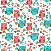 stock photo of owls  - Cute seamless pattern with owls couple - JPG