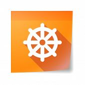 image of dharma  - Illustration of an isolated sticky note icon with a dharma chakra sign - JPG