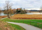 foto of chapels  - walkway to lake seeon with monastery and chapel bavarian landscape - JPG