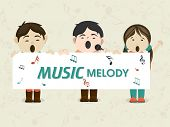 stock photo of microphone  - Cartoon of kids singing in microphone and holding white board with text Music Melody - JPG