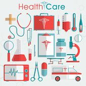 foto of diagnostic medical tool  - Set of Health Care elements including medical tools - JPG