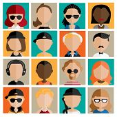 stock photo of reggae  - Diversity Interracial Community People Flat Design Icons Concept - JPG