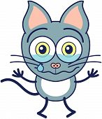 picture of cat-tail  - Cute gray cat in minimalistic style with pointy ears - JPG