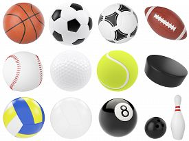 stock photo of pool ball  - Set of sports balls - JPG