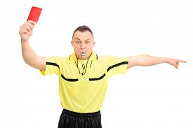stock photo of referee  - Angry football referee in a yellow jersey showing a red card and pointing with his hand isolated on white background - JPG