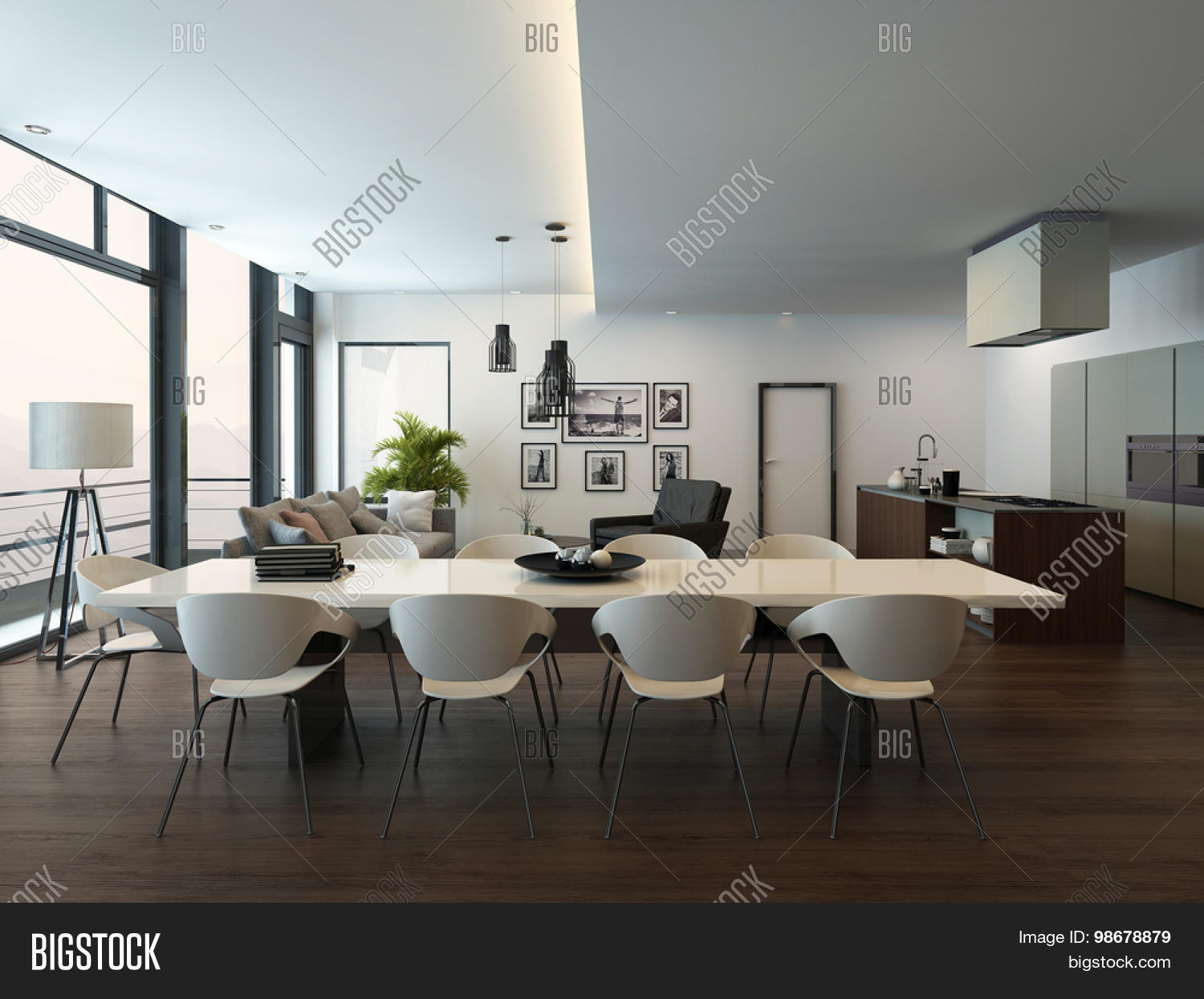 Apartment living room interior with parquet floor white dining table