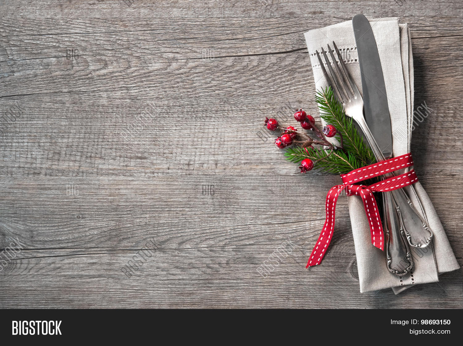 Christmas table place setting image photo bigstock for Place setting images