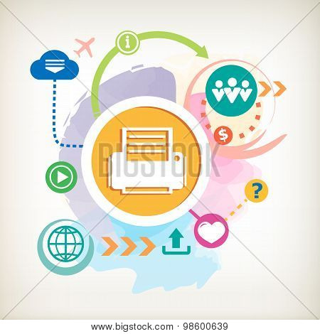 Printer And Cloud On Abstract Colorful Watercolor Background